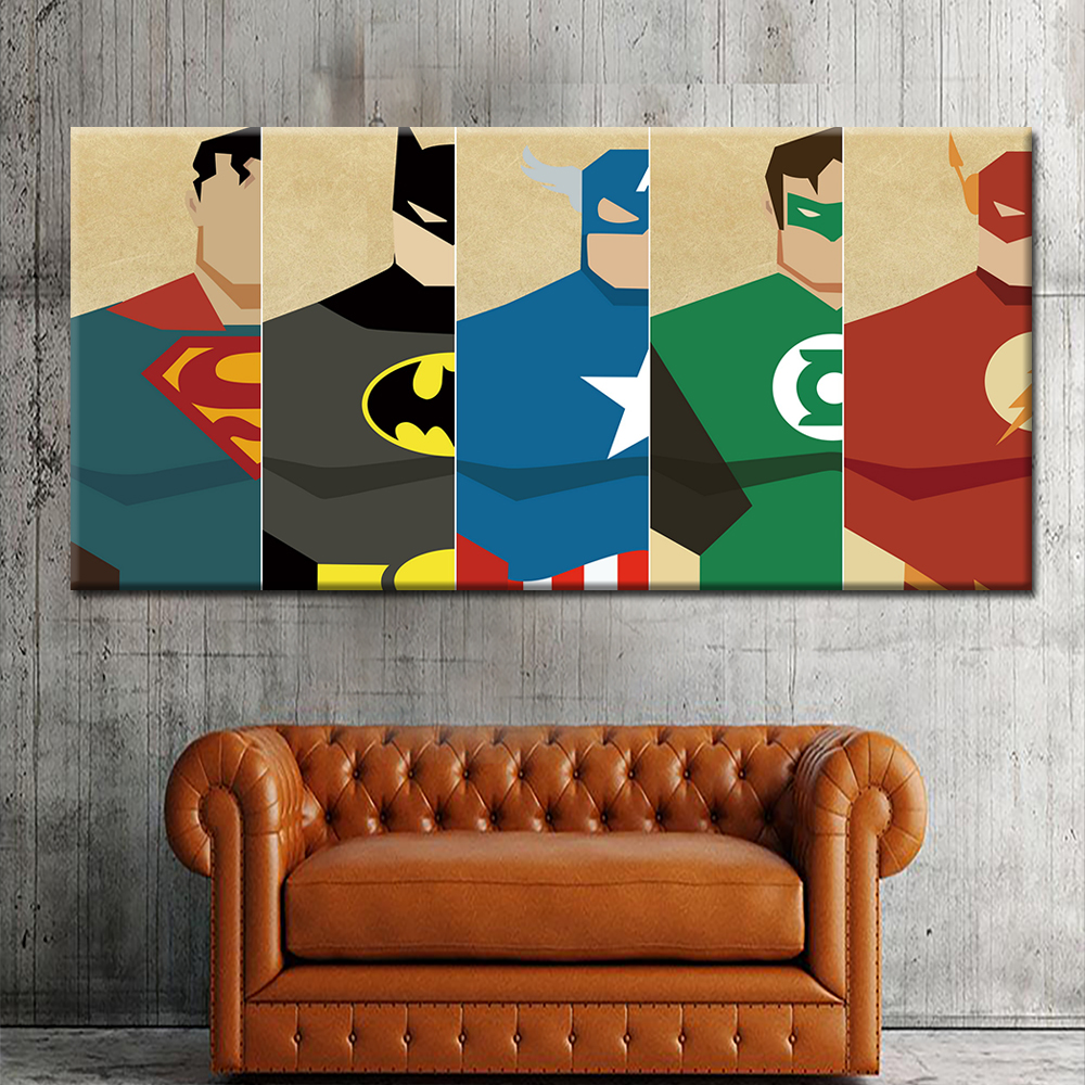 2019 New Design Unframed 5 Panels Superman Canvas Oil Painting Hd Modern  Wall Art Painting For Bedroom Decor - Buy 5 Panels Canvas Wall Art ...