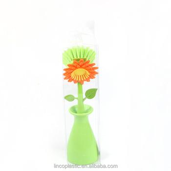 Sun Flower Shaped Plastic Washing Cleaning Vase Pan Pot Brush