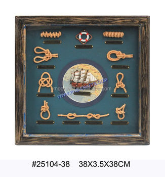 Wooden Knots Frame Knot Board With Boat Antique Decorative Frame
