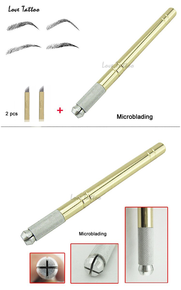 הזהב Tebori עט Microblading עט קעקוע מכונת איפור קבוע ידני עט עם 2pcs מחט להב
