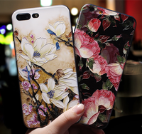 flower embossed full cover for iphone xs xr xs max 3D tpu case