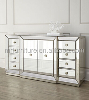 Captivating Glass Mirrored Dining Room Buffet Hutch Cabinet MR 4G0139