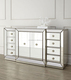 glass mirrored dining room buffet hutch cabinet MR-4G0139