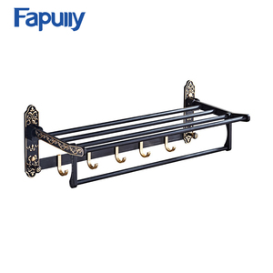 Fapully Bathroom Accessories Towel Bar Parts Metal Aluminum Extension adjustable towel rack with 5 hook