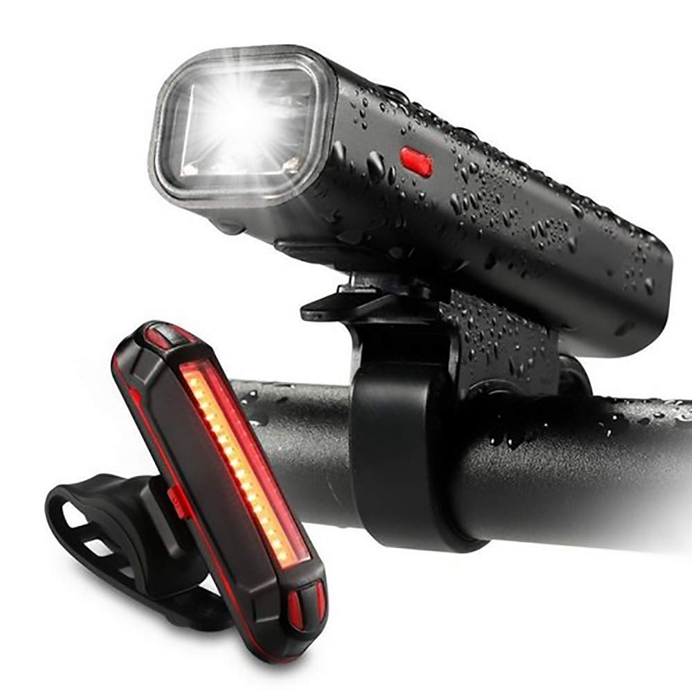 ZOUQILAI Bike Headlight with Bicycle Taillight USB Rechargeable LED Bike Lights Set Front and Back Cycling Safety Flashlight
