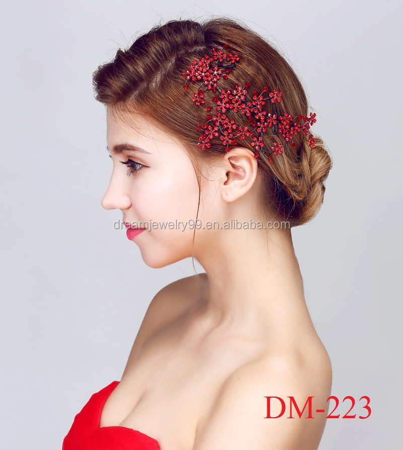 2017 handmade ornaments romantic crystal hair acessories red flowers fancy headband