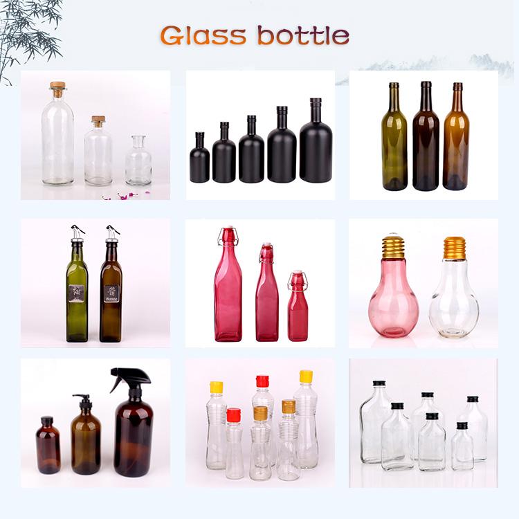 थोक वर्ग गिलास दूध की बोतल 8 oz 12 oz 14 oz 32 oz कांच की बोतल के लिए प्लास्टिक के ढक्कन के साथ दूध
