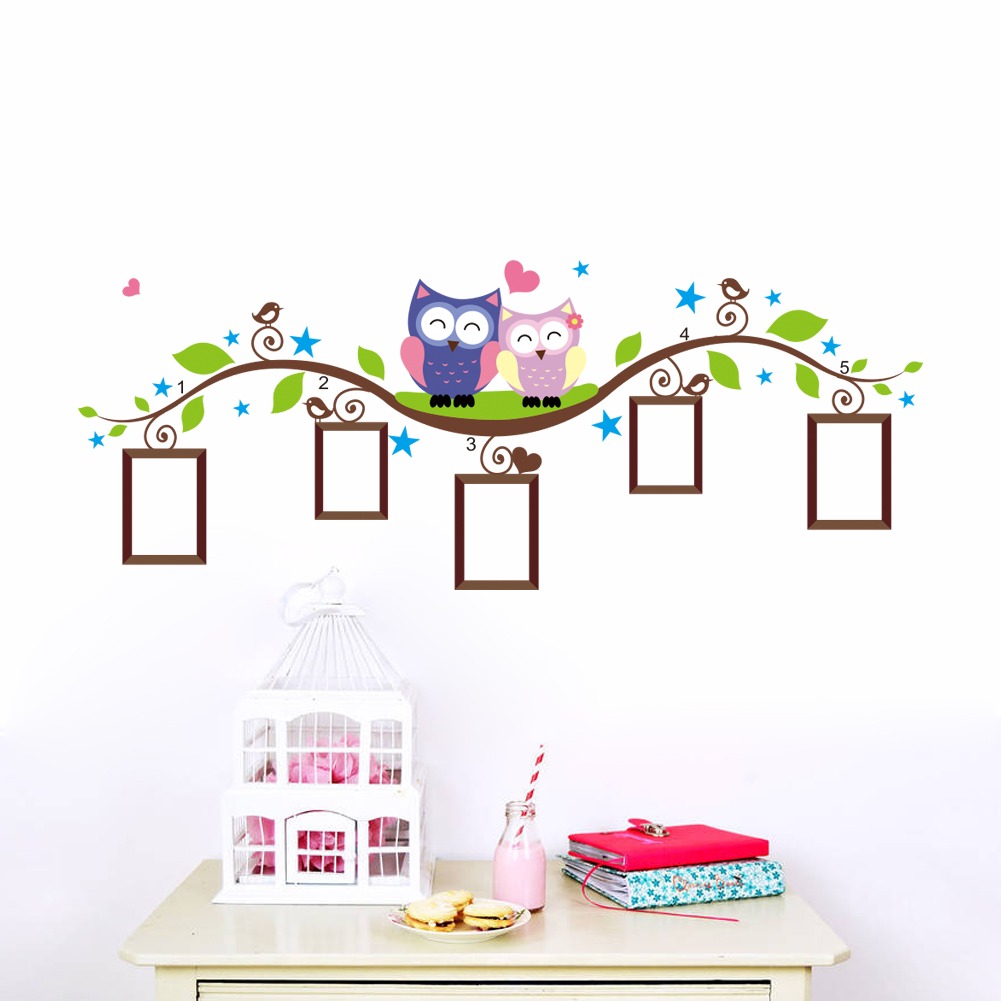 owls photo frame wall stickers home decoration bedrrom animals wall decals mural art living room cartoon