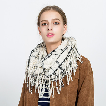 Fashion Winter Shawl Loop With Tassel Plaid Women Cashmere Infinity Scarf