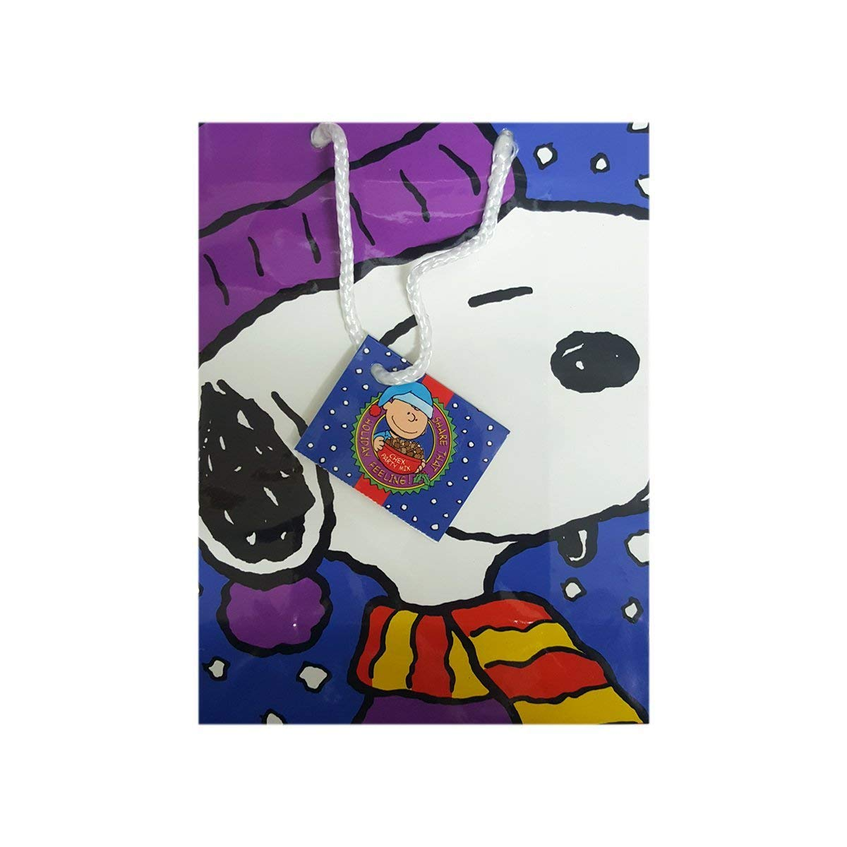 "Chex Ralston Peanuts Snoopy Christmas Gift Bag 7"" x 3"" x 9"""