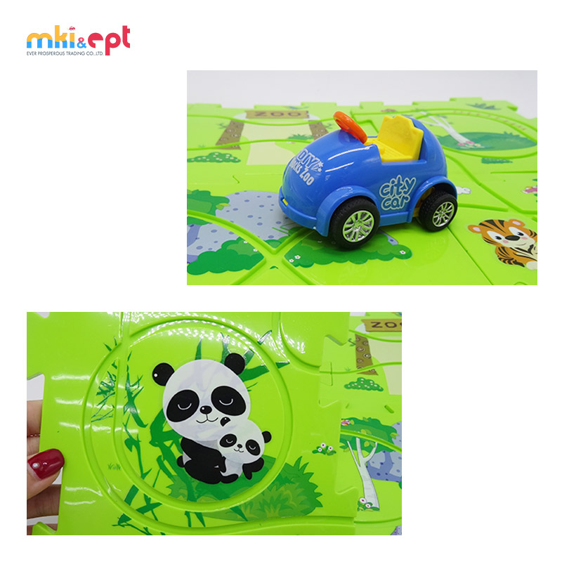 Perfect Zoo Puzzle Track Play Set With Battery Operated Toy Car