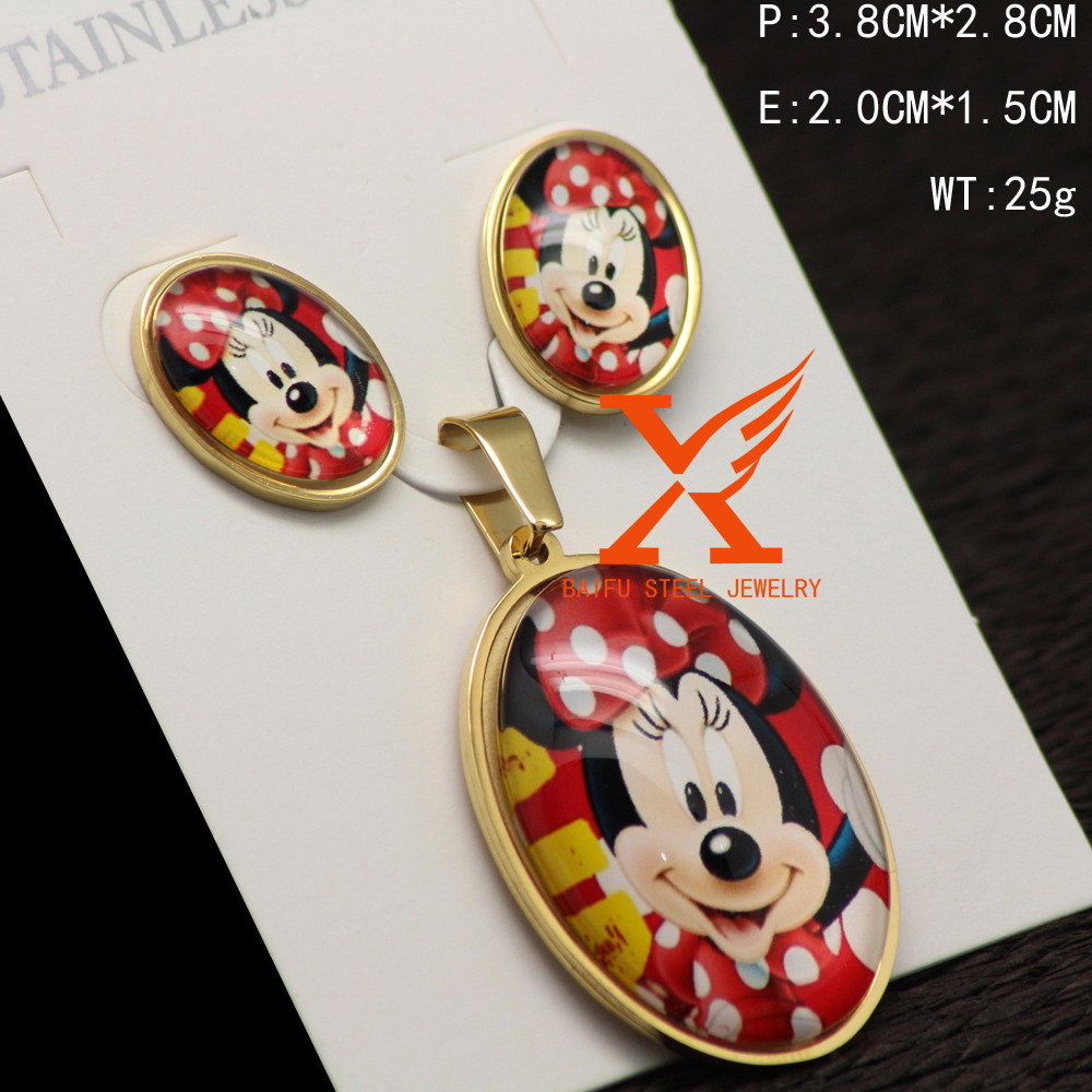 In Stock Wholesale Reinforcement Stainless Steel Cartoon Jewelry Cute Baby Jewerly Sets
