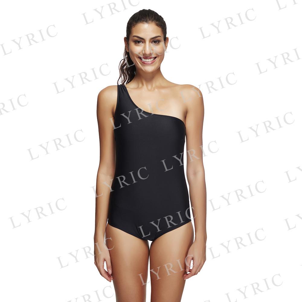 7a576919658d Nuovi produttori che vendono personalizzato stampa costume da bagno delle  donne nero spalla bikini spaccato costume