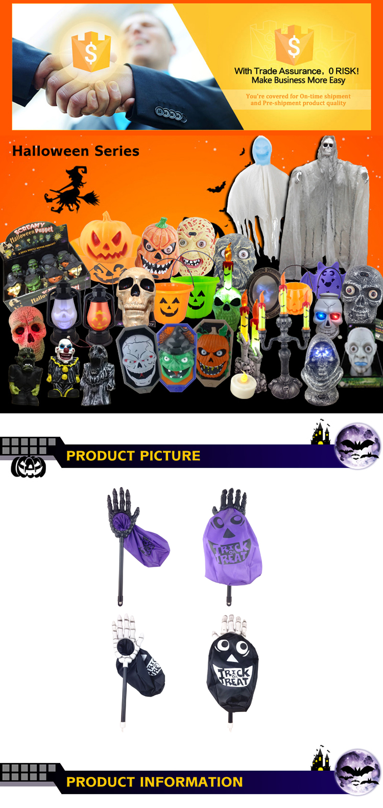 New product Halloween treat bags for candy