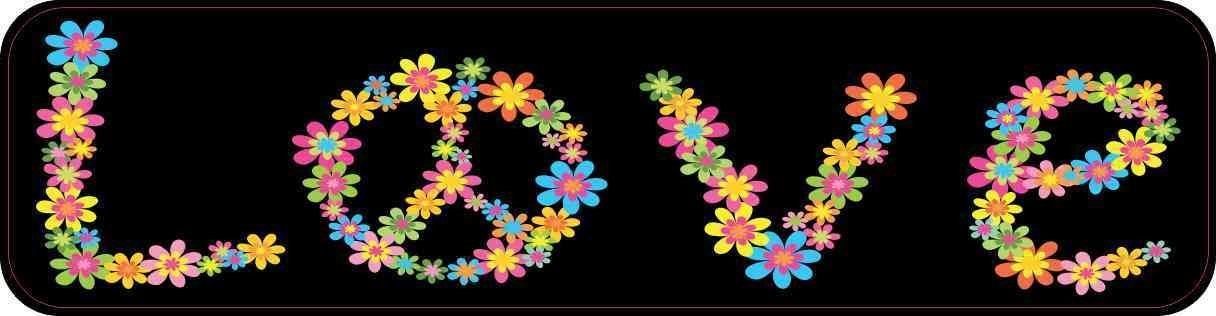 StickerTalk 8in x 2in Floral Peace Sign Love Sticker by
