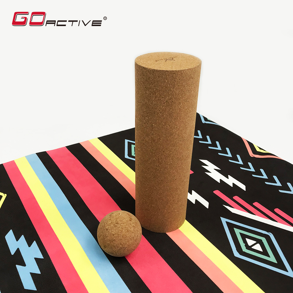 GoActive Eco Friendly Cork Yoga Massage Foam Roller For Muscle Recovery