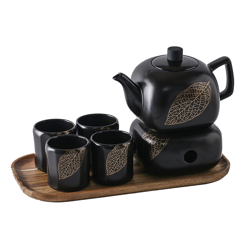 Black and White <strong>tea</strong> <strong>set</strong> <strong>porcelain</strong> coffee cups <strong>tea</strong> <strong>set</strong> <strong>porcelain</strong> <strong>tea</strong> <strong>set</strong> With warmer and wood tray