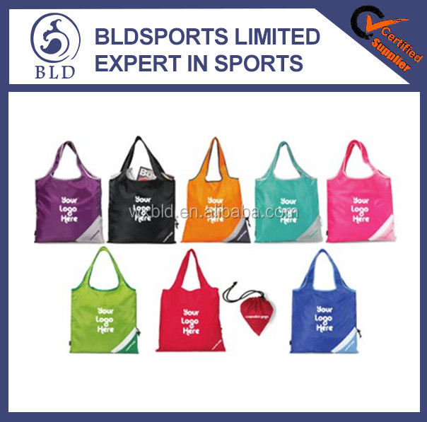 Customized and logo printed cheap nylon foldable tote bag