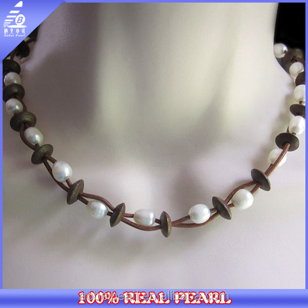 NK-00024 most popular wooden beads knitted pearl necklace