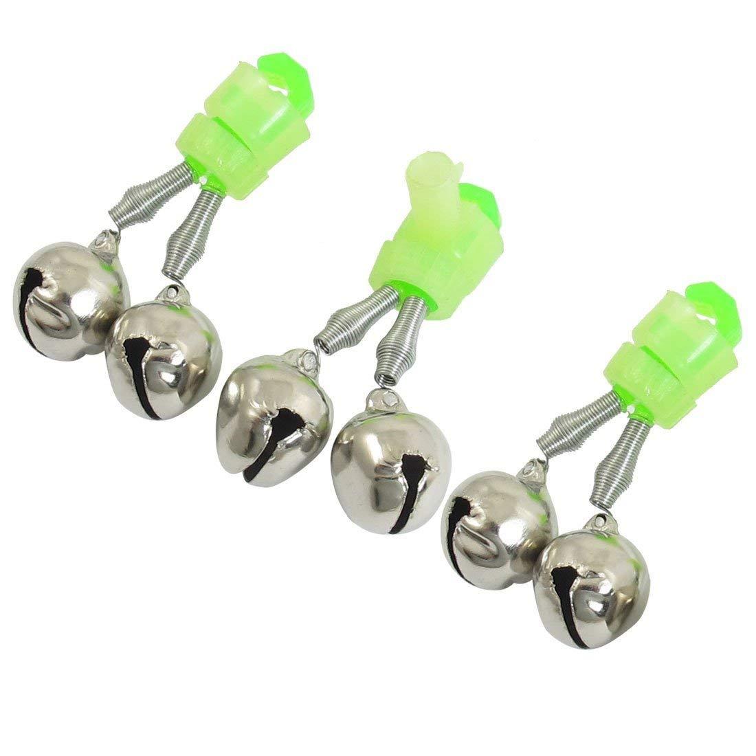 5Pcs Fishing Bite Bait Alarm Twin 2 Bells Rod Tip Clip Clamp On Alert Ring