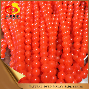 Natural stone strands beads nephrite dyed red jade stone