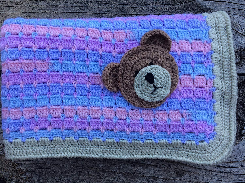 Teddy bear applique crochet embellishment for blankets etsy
