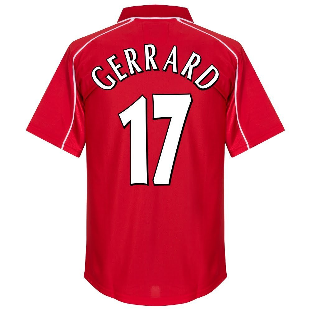 394b637bfb1 2001 Liverpool UEFA Cup Final Retro Shirt + Gerrard No. 17 (Fan Style  Printing