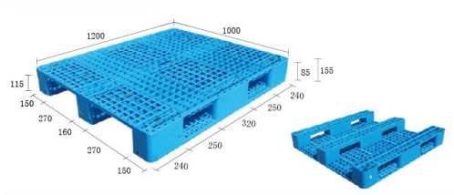 Warehouse Multi-size Single Faced Grid 3 Skid Euro Plastic Pallet