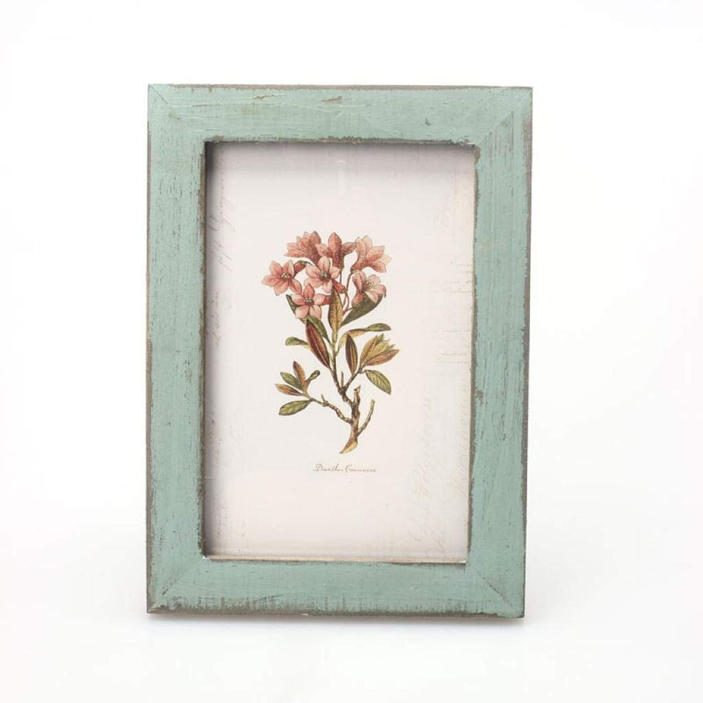 """SUKEQ Vintage Wood Photo Frame, Distressed Wood Frame, Faux Barnwood Picture Frame, Rustic Wooden Picture Frame, Wedding Casamento Pictures Frames, DIY Home Decor, 8.47""""X7.68"""" (Blue)"""