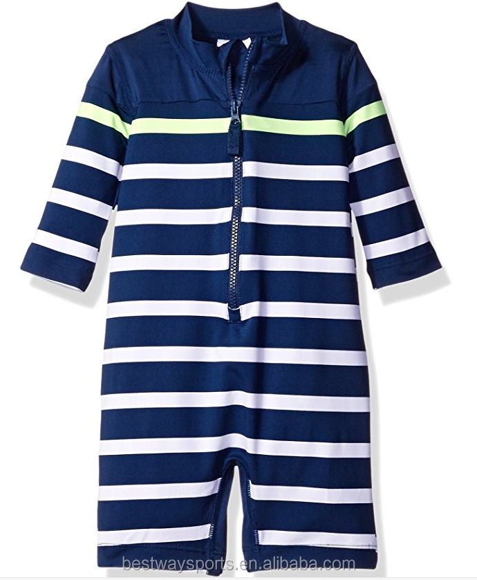 High Quality Baby Boys' Long Sleeve Striped Full Body Rash Guard with Cheap Price
