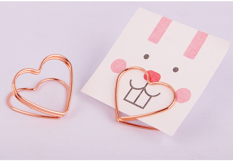 For Stationery  New Design Gold Heart Shape Metal Memo Clip