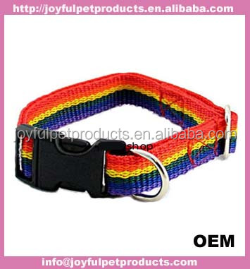 2017 new adjustable linen/nylon webbing dog collar with brass hardware for christmas gift
