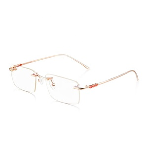 4fb81890928 Top Quality Business Leisure Style 18k Gold Red Onyx Glasses Frames Eyewear  Ultra-light Rimless Optical