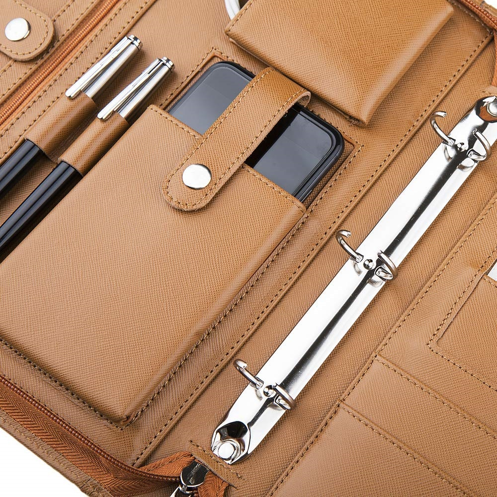 Document Padfolio Personalized Business Brown Zipper File Folder Business PU Leather A4 Portfolio