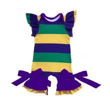 Новый Орлеан Mardi Gras цвета фиолетовый зеленый и золотой принт Одежда для младенцев молочный Шелковый комбинезон Mardi Gras праздник Детский комб...(Китай)