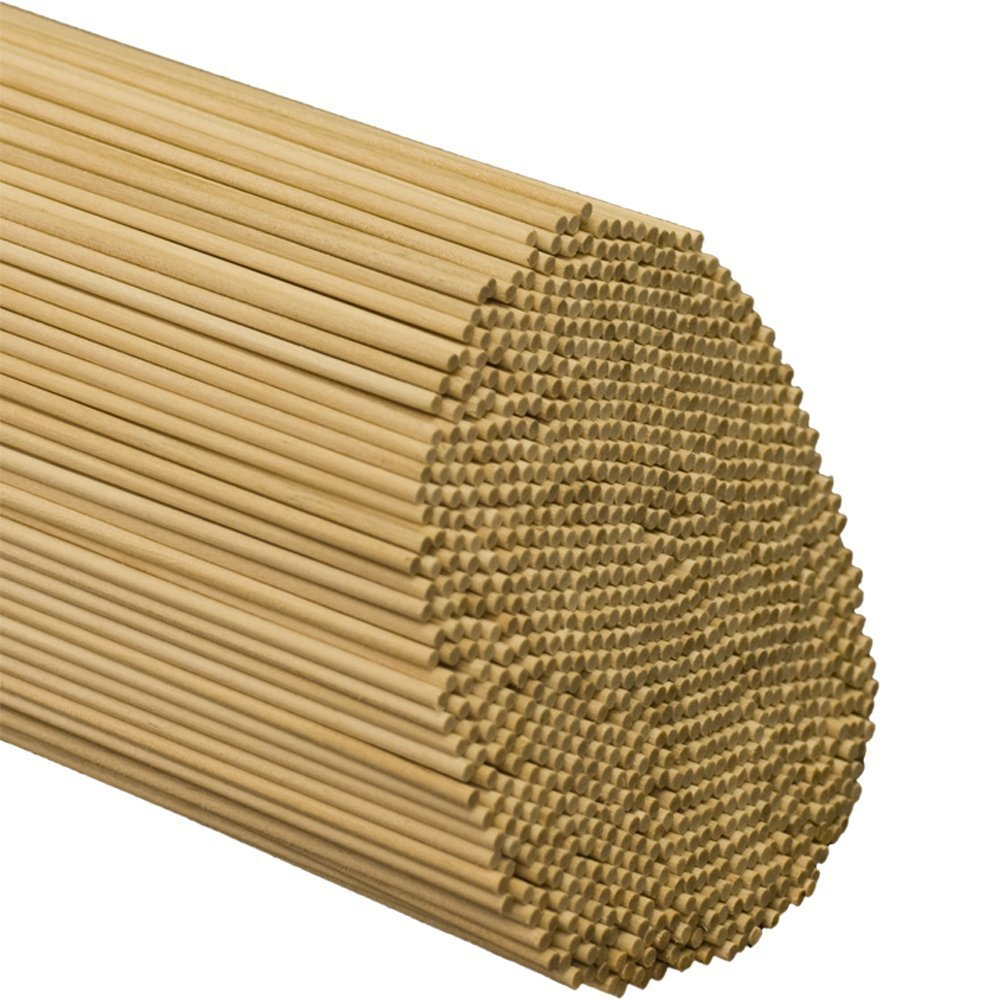 """Wooden Dowel Rods – 3/16"""" x 12"""" Unfinished Hardwood Sticks – For Crafts and DIY'ers – 100 Pieces – Woodpecker Crafts"""