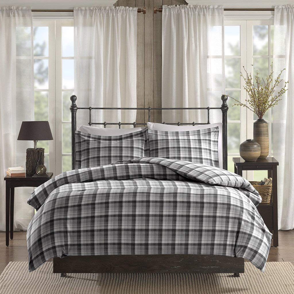 a84657f111 Get Quotations · Woolrich Tasha Full/Queen Size Bed Comforter Set - Grey,  Plaid – 3 Pieces