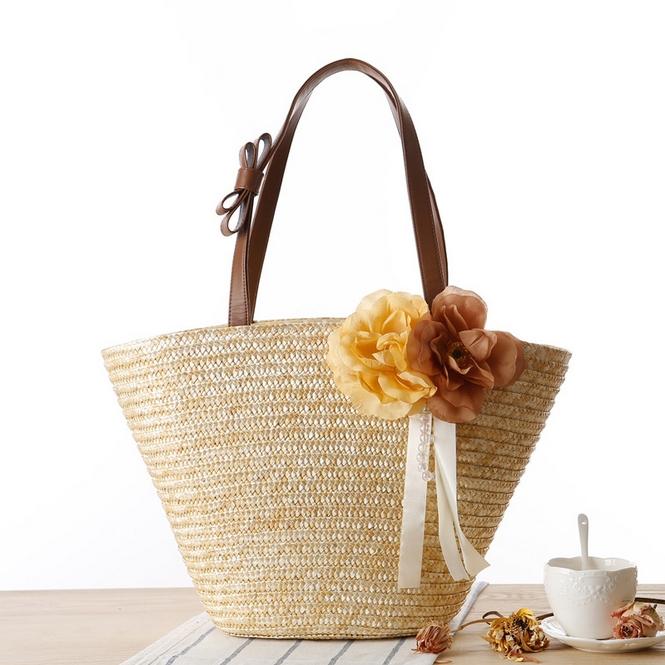 Get Quotations · 2015 Flower Straw Handbags Summer Weave Woven Shoulder  Tote Shopping Travel Beach Bag Women Handbag Straw 698f628e4f11b
