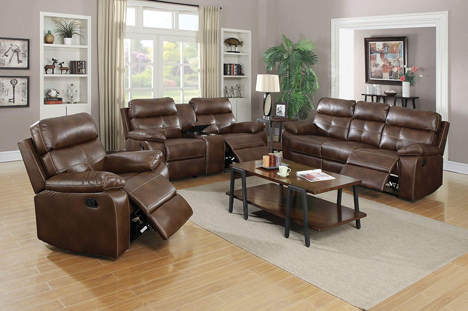Super Buy Coaster Clifford 3 Piece Reclining Sofa Set In Brown Interior Design Ideas Pimpapslepicentreinfo