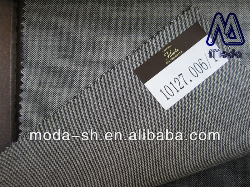light grey color super 180 100%wool suit fabric worsted hopsack 10127.006/1