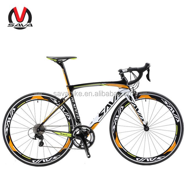 Hot sale SAVA 700C Carbon fiber road bike Manufacturer sale bicycle 22 speed Ultralight derailleur system, Black grey red;black white orange;black white red