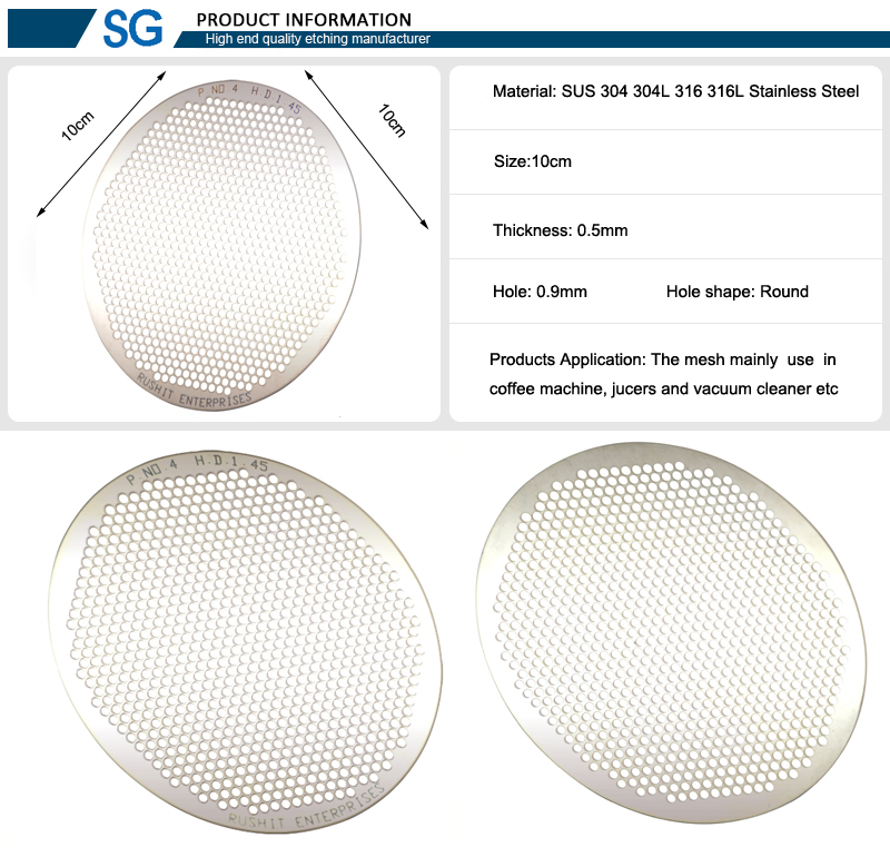 SUS 304 304L 316 316L Stainless Steel Mesh Etching Screen Parts