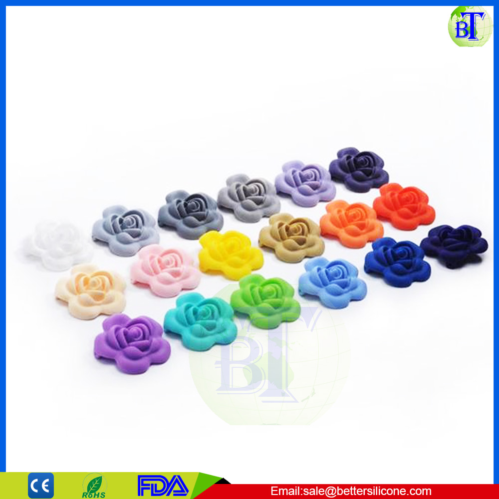Wholesale Factory Price FDA Silicone Rose Flower Silicone beads teething