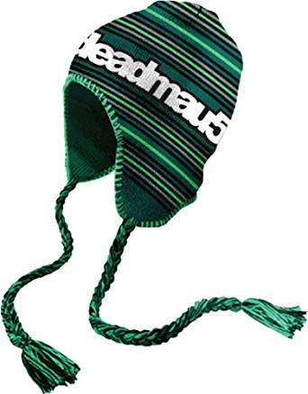 4713a2793b6 Get Quotations · Deadmau5 Green Striped Peruvian Laplander Beanie Hat