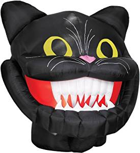 Cat Head with Dropping Jaw Halloween Prop Animated