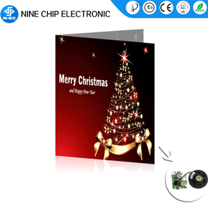 Voice recording sound module custom music greeting card for Christmas