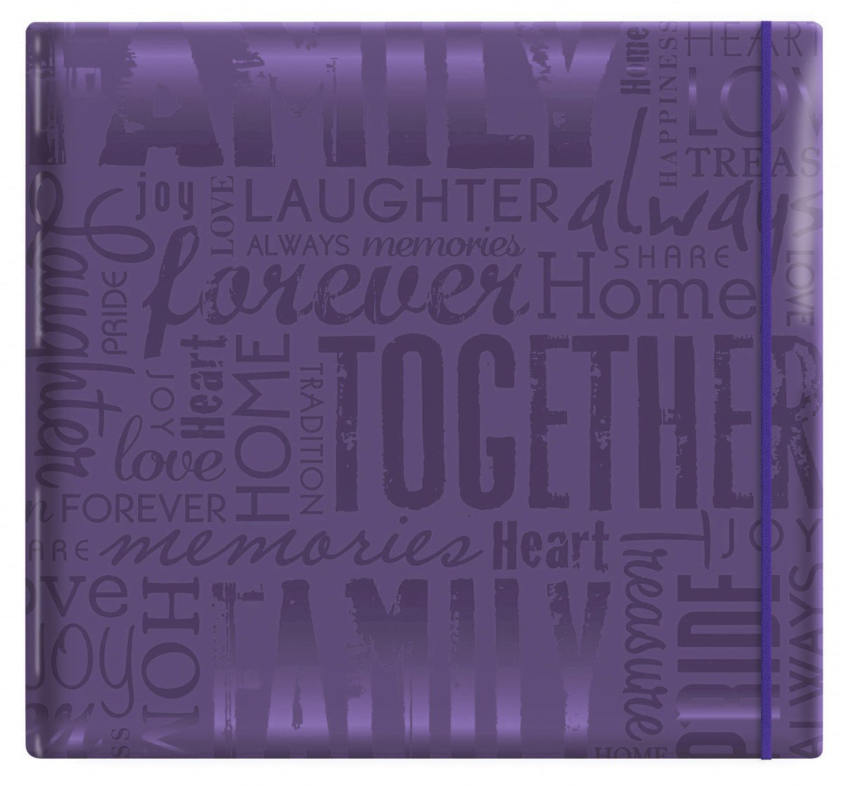 "MCS MBI 13.5x12.5 Inch Embossed Gloss Expressions Scrapbook Album with 12x12 Inch Pages, Deep Purple, Embossed ""Family"" (848116)"