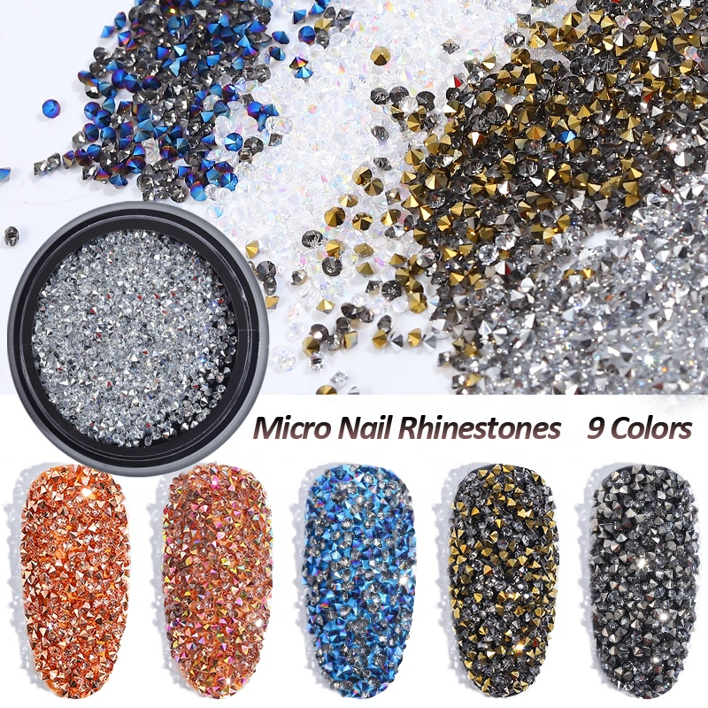 Misscheering 1Box Glass Nail Caviar Tiny Rhinestones <strong>Micro</strong> Pixie <strong>Crystals</strong> 3d Sharp End Glitter Strass For Nails Art Decorations