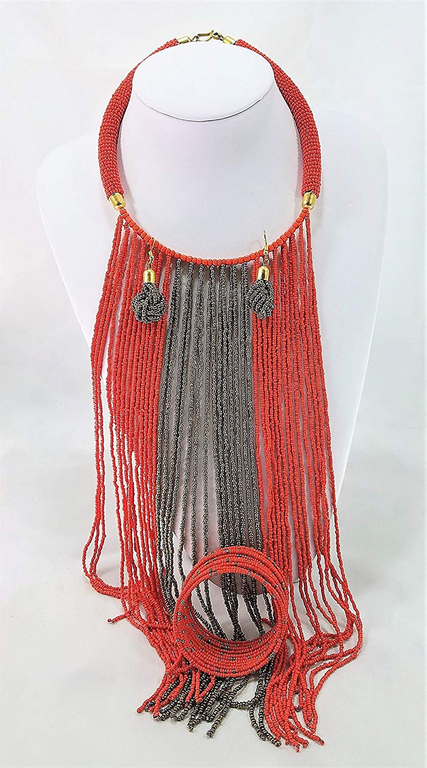 Handmade Orange and Gold Bracelet, Earrings, and Necklace Maasai Masai Jewelry Set