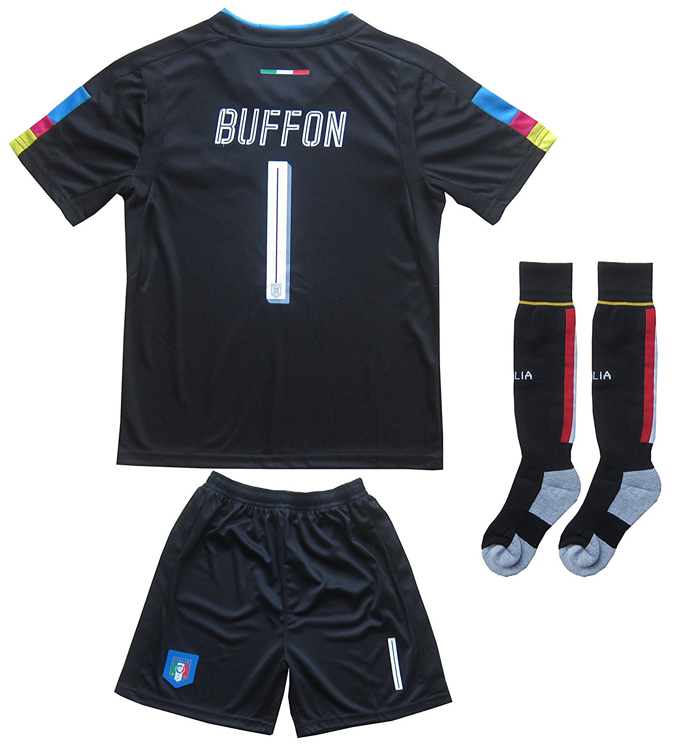 1f436ab32 Get Quotations · FCW 2018 Italy Home  1 Gianluigi BUFFON Football Futbol  Soccer Kids Goalkeeper Jersey Shorts Socks